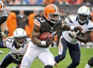 Trent Richardson played most of the year injured, but not with the knee injuries he dealt with this offseason. (Credit: AP Photo/Phil Long)