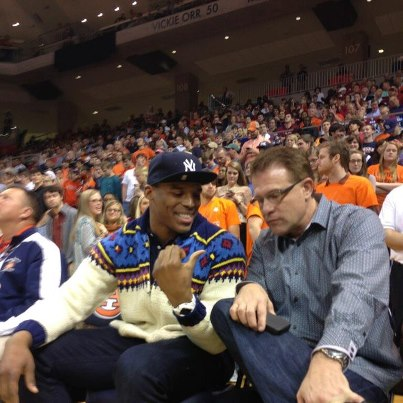 Cam Newton spent his Wednesday night attending an Auburn basketball game. The team beat rival Alabama 49-37 to snap a six game losing streak (Credit: AP Photo)