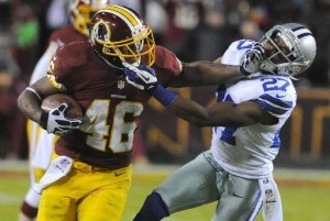 Alfred Morris hit a couple of home runs in 2012, including rushing for over 200 yards against the Cowboys, in Week 17. (Richard Lipski/Associated Press)