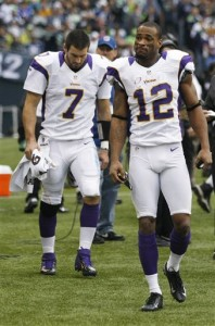 Christian Ponder wants his top receiver, Percy Harvin, to remain a Viking. (Credit: AP Photo/John Forschauer)