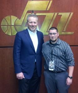 Greg Miller and I standing outside the Utah Jazz locker room.