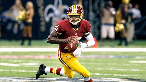 "As Robert Griffin III attempts to come back from an ACL and LCL surgery, he said this week that his knee is feeling ""great"". (Credit: AP Photo/Bill Haber)"