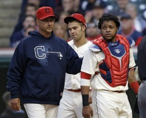 Santana comforted by Terry Francona (Credit: AP Photo/Mark Duncan)