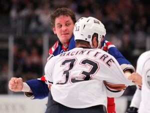 Derek Boogaard in action (courtesy of Getty Images)