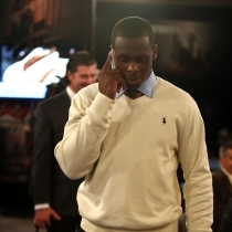 Geno Smith's pre-draft behavior played a part in his fall out of the first round. (AP Photo/Ben Liebenberg)