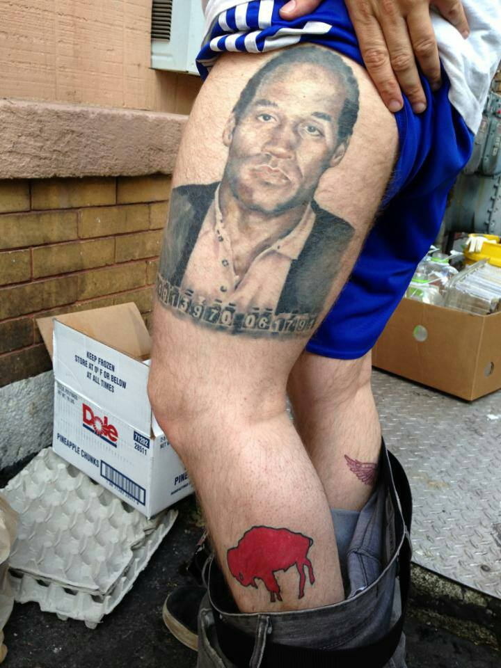 Buffalo Bills fan has HUGE O.J. Simpson tattoo on upper thigh
