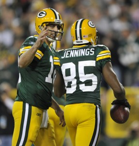 Do Greg Jennings and Aaron Rodgers have bad blood? Or is it all in good fun? (Photo Credit: Zimbio.com)