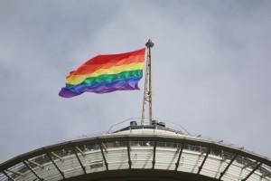 The Pride Flag flies over the Space Needle in Seattle, a city always progressive among the LGBT community