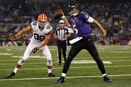 Flacco is calm in the face of danger... and the Browns too. (Photo courtesy of the USA Today)