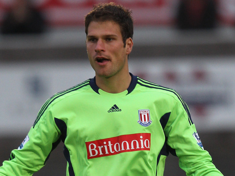 Asmir Begovic scores a goal from his own penalty box