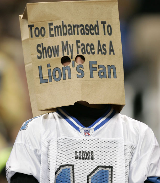 After yesterday's lack luster performance on-the-field, the Lions faced some heckling from an unusual fan today (Credit: Sports-Illustrated)